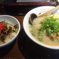 米原駅近くの博多ラーメン「たい風」米原店へ。博多風のあっさり豚骨ラーメンとたい風丼を頂きました